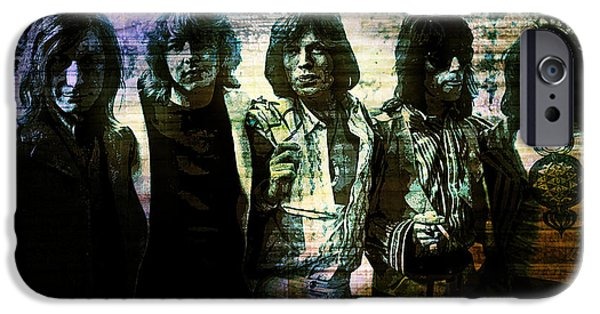 Charlie Watts iPhone Cases - The Rolling Stones - In Purple Sepia iPhone Case by Absinthe Art By Michelle LeAnn Scott