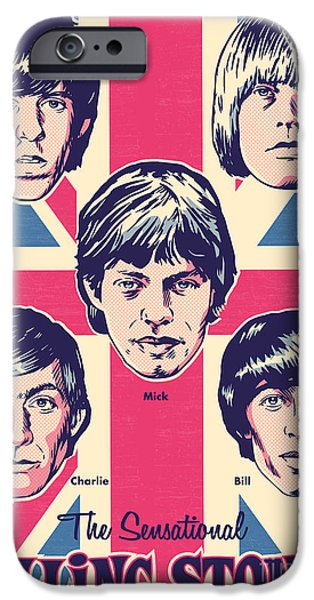 Beatles Digital Art iPhone Cases - The Rolling Stones Pop Art iPhone Case by Jim Zahniser