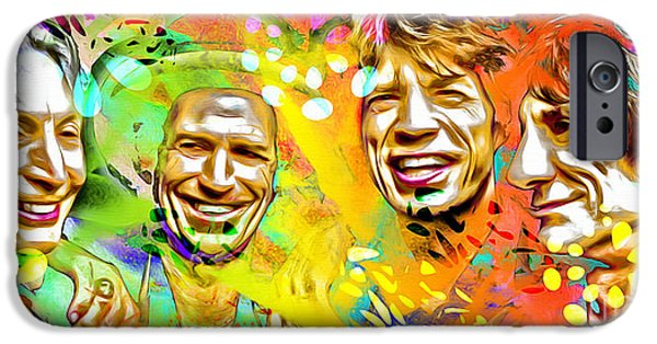 Charlie Watts iPhone Cases - The Rolling Stones Pop Art Painting iPhone Case by Daniel Janda