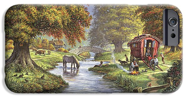 Autumn iPhone Cases - The Romany Camp iPhone Case by Steve Crisp