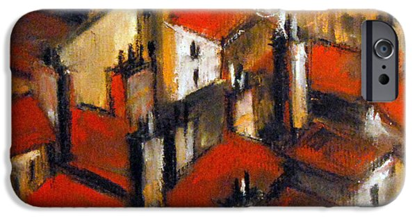 White House Pastels iPhone Cases - The Roofs Of Lyon iPhone Case by Mona Edulesco