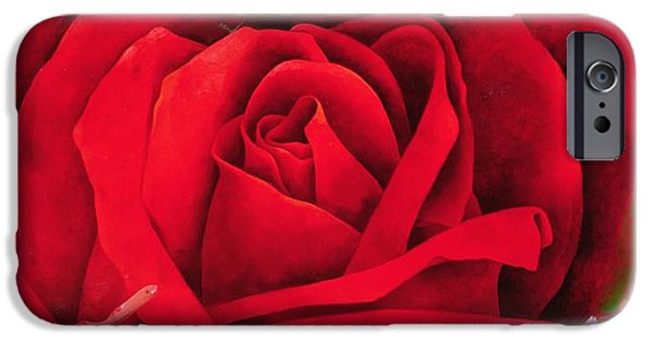 Red Abstract iPhone Cases - The Rose, 1997 Oil On Canvas iPhone Case by Myung-Bo Sim