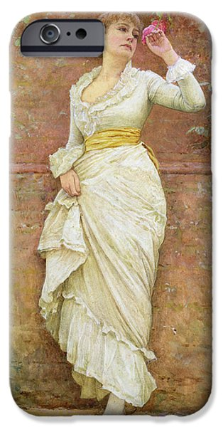 Portraits Female Paintings iPhone Cases - The Rose iPhone Case by Edward Killingworth Johnson