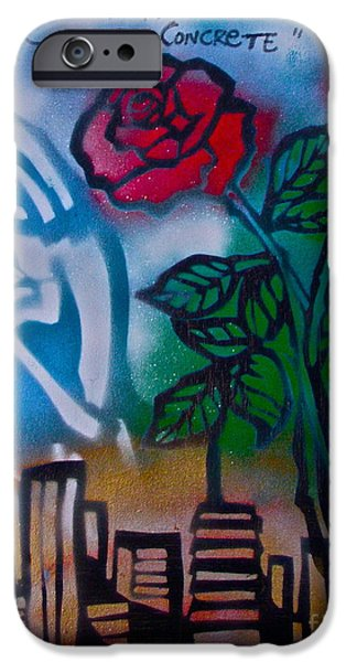 First Amendment Paintings iPhone Cases - The Rose From The Concrete iPhone Case by Tony B Conscious