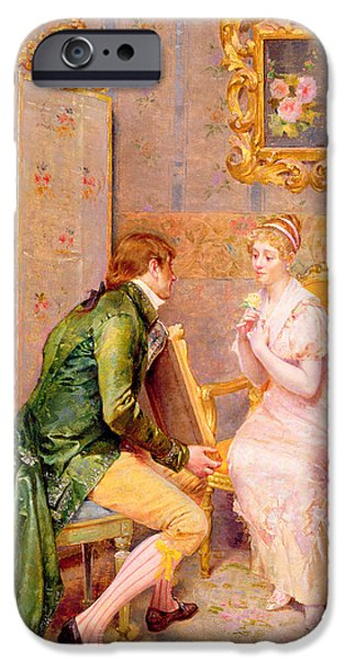 Relationship Paintings iPhone Cases - The Rose iPhone Case by Giulio Rosati