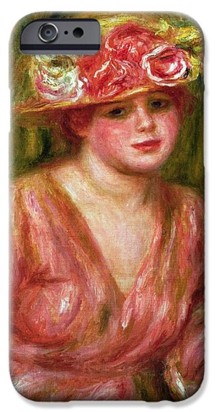 Impressionist Photographs iPhone Cases - The Rose Hat Or Portrait Of Lady Hessling iPhone Case by Pierre Auguste Renoir