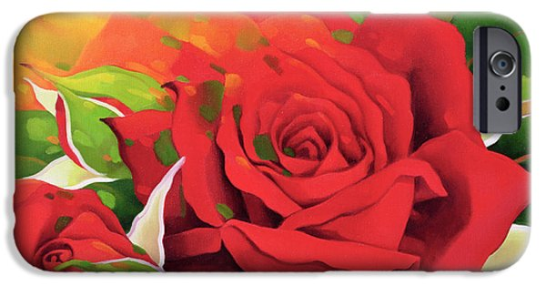 Floral Photographs iPhone Cases - The Roses In The Festival Of Light, 2003 Oil On Canvas iPhone Case by Myung-Bo Sim