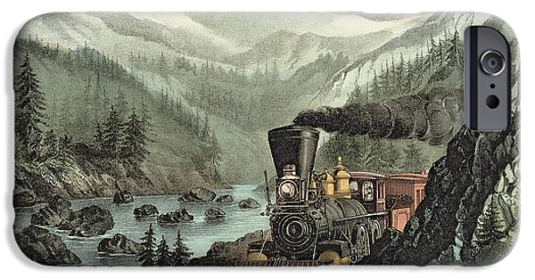 Nineteenth Century iPhone Cases - The Route to California iPhone Case by Currier and Ives