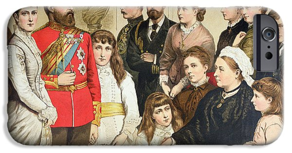 Royalty iPhone Cases - The Royal Family, 1880 Colour Engraving iPhone Case by English School