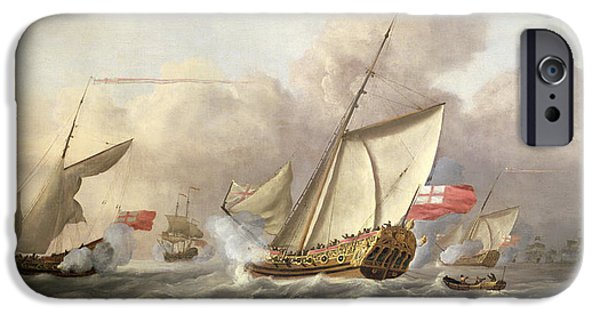 Sea iPhone Cases - The Royal Yacht Mary Exchanging Salutes, 18th Century iPhone Case by Cornelis van de Velde