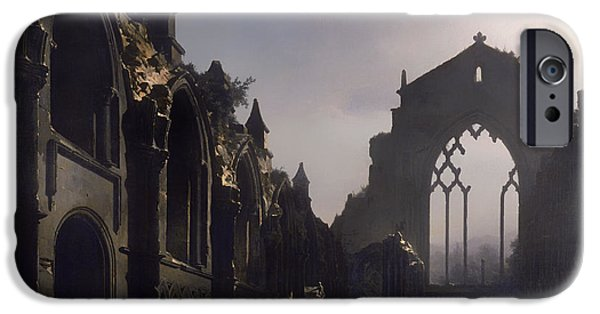 Christian work Paintings iPhone Cases - The Ruins of Holyrood Chapel iPhone Case by Louis Daguerre
