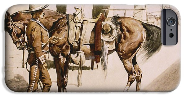 Cowboy Gear iPhone Cases - The Rural Guard Mexico iPhone Case by Frederic Remington