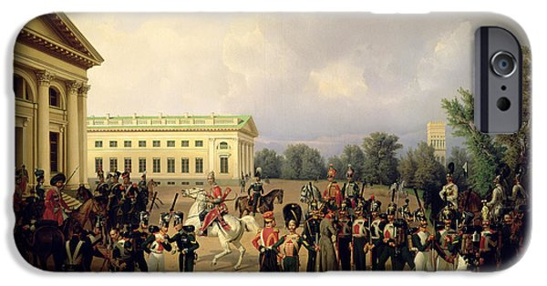 Neo iPhone Cases - The Russian Guard In Tsarskoye Selo In 1832, 1841 Oil On Canvas iPhone Case by Franz Kruger