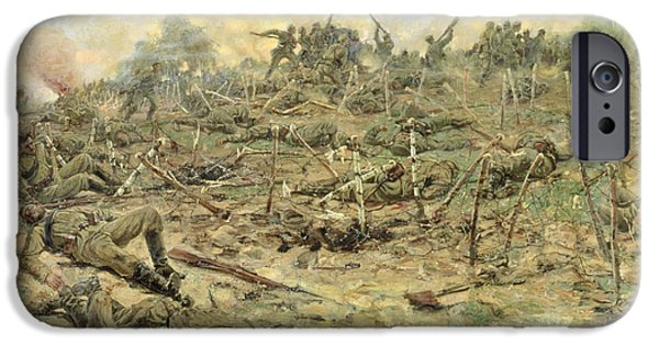 World War One Photographs iPhone Cases - The Russian Infantry Attacking The German Entrenchments, 1918 Oil On Canvas iPhone Case by Pyotr Pavlovich Karyagin