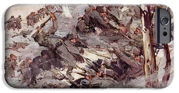 World War One Paintings iPhone Cases - The Russians fighting their way over the Carpathians iPhone Case by Cyrus Cuneo