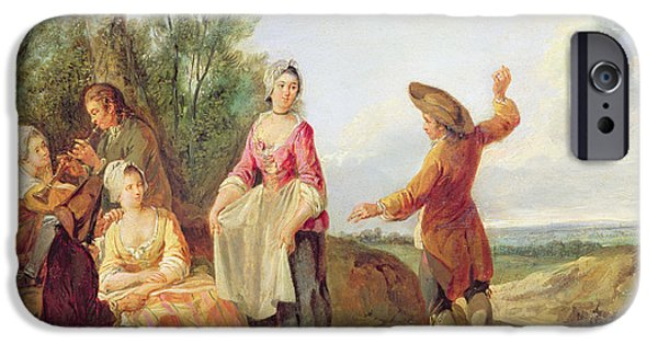 Party iPhone Cases - The Rustic Dance Oil On Canvas iPhone Case by Francois Louis Joseph Watteau