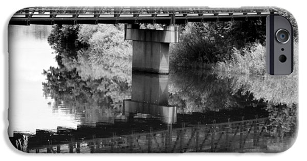 Field. Cloud Mixed Media iPhone Cases - The Rusty Foot Bridge BW iPhone Case by Angelina Vick
