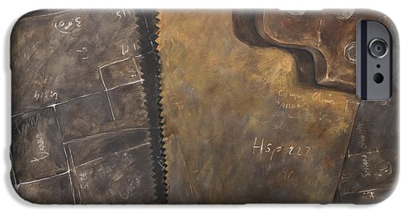 Work Tool Paintings iPhone Cases - The rusty saw and the buildingplans iPhone Case by Anke Classen