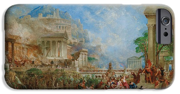 Greek Sculpture Paintings iPhone Cases - The Sack of Corinth iPhone Case by Thomas Allom