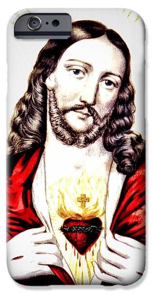 Best Sellers -  - Son Of God Drawings iPhone Cases - The Sacred Heart of Jesus iPhone Case by Digital Reproductions