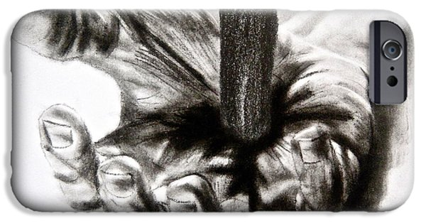 Jesus Drawings iPhone Cases - THE Sacrifice iPhone Case by Ann Supan