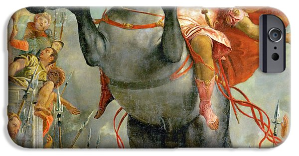 Paolo iPhone Cases - The sacrificial death of Marcus Curtius iPhone Case by Paolo Veronese