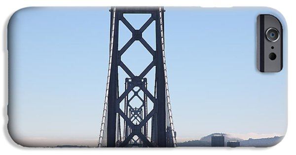 Baybridge iPhone Cases - The San Francisco Bay Bridge Into The City 5D25419 iPhone Case by Wingsdomain Art and Photography