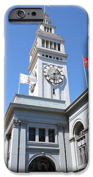 Clock Shop iPhone Cases - The San Francisco Ferry Building 5D25382 iPhone Case by Wingsdomain Art and Photography