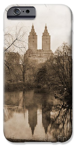 Rita iPhone Cases - The San Remo Building Reflectec On The Lake In Central Park Vintage Look iPhone Case by RicardMN Photography