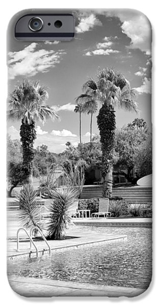 THE SANDPIPER POOL BW Palm Desert iPhone Case by William Dey