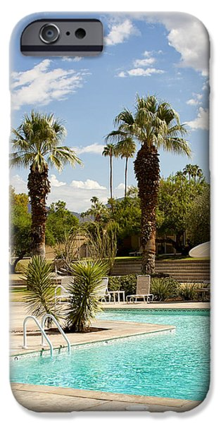 Lawn Chair iPhone Cases - THE SANDPIPER POOL Palm Desert iPhone Case by William Dey