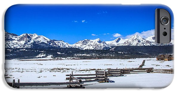 Haybale iPhone Cases - The Sawtooth Mountains iPhone Case by Robert Bales