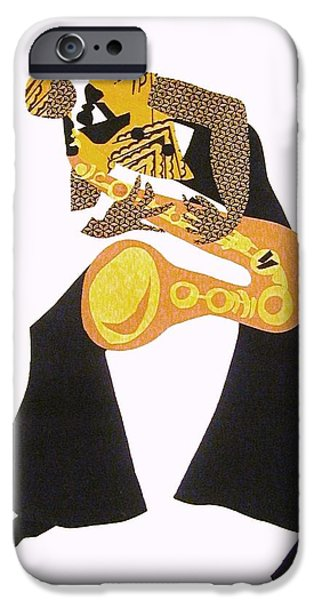 African-americans Tapestries - Textiles iPhone Cases - The Saxophonist original...sold iPhone Case by Ruth Yvonne Ash