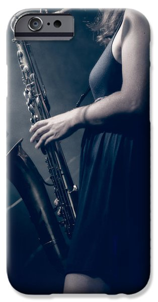 Ambiance iPhone Cases - The Saxophonist Sounds In The Night iPhone Case by Bob Orsillo