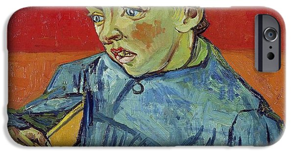 Young Paintings iPhone Cases - The Schoolboy iPhone Case by Vincent Van Gogh