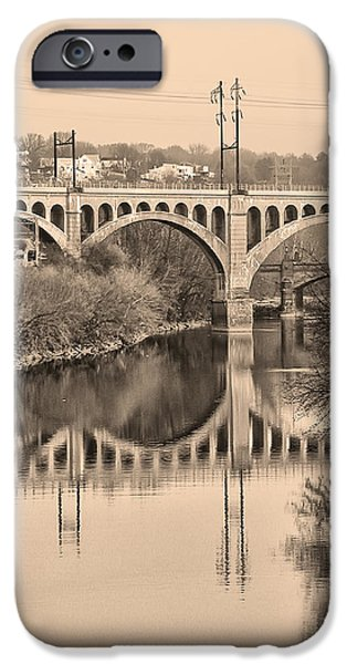 The Schuylkill River and manayunk Bridge in Sepia iPhone Case by Bill Cannon