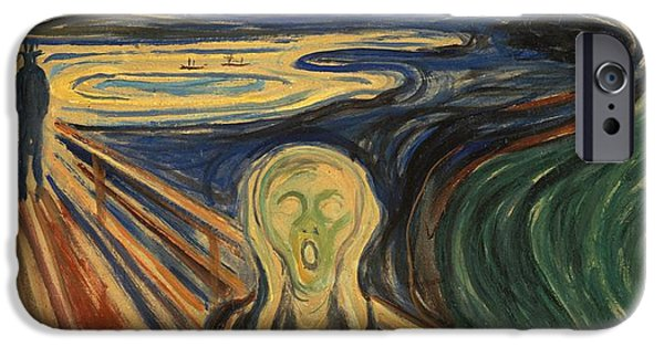 The Scream iPhone Cases - The Scream Edvard Munch 1910 iPhone Case by Movie Poster Prints