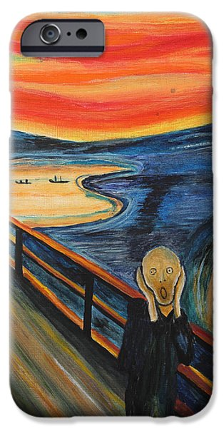 Bipolar Paintings iPhone Cases - The Scream iPhone Case by Nirdesha Munasinghe