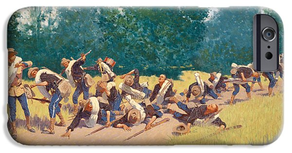 Frederic Remington iPhone Cases - The Scream of Shrapnel at San Juan Hill iPhone Case by Frederic Remington