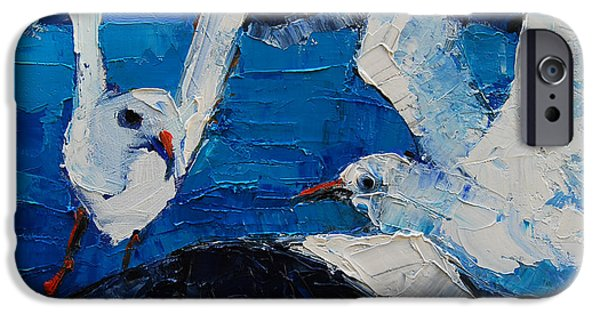 Flying Seagull Paintings iPhone Cases - The Seagulls iPhone Case by Mona Edulesco