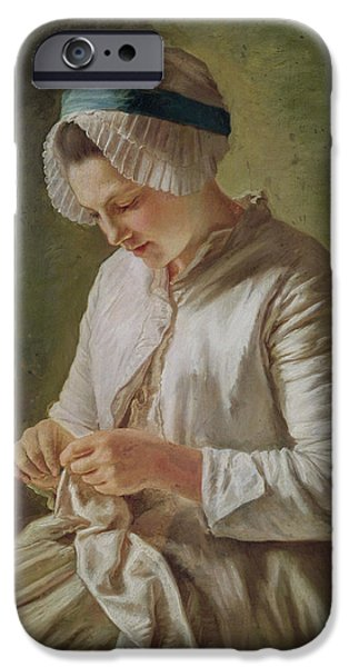 Mending iPhone Cases - The Seamstress Or, Young Woman Working Oil On Canvas iPhone Case by Francoise Duparc