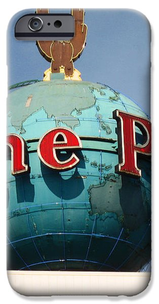 The Seattle Pi Globe Sign iPhone Case by Kym Backland