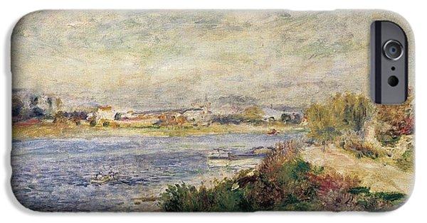 Renoir iPhone Cases - The Seine in Argenteuil iPhone Case by Pierre-Auguste Renoir