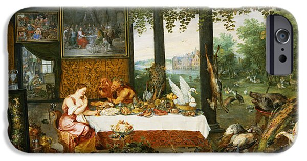 Table Wine iPhone Cases - The Sense Of Taste, 1618 Oil On Panel iPhone Case by Jan Brueghel