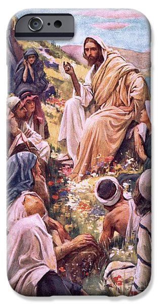The Followers Paintings iPhone Cases - The Sermon On The Mount iPhone Case by Harold Copping