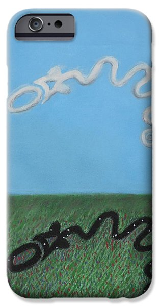 Serpent Pastels iPhone Cases - The Serpent Mound iPhone Case by R Neville Johnston