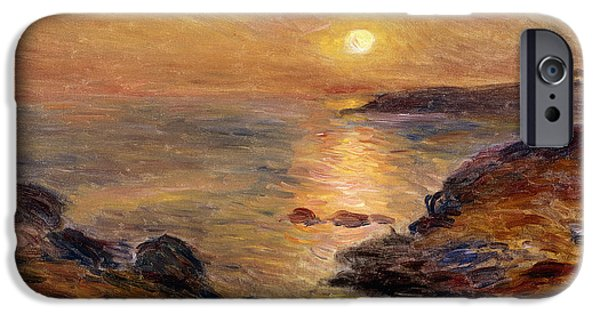 Renoir iPhone Cases - The Setting of the Sun at Douarnenez61 iPhone Case by Pierre Auguste Renoir