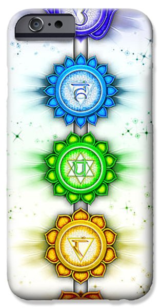 Chakra Rainbow iPhone Cases - The Seven Chakras - Series V - Artwork II iPhone Case by Dirk Czarnota