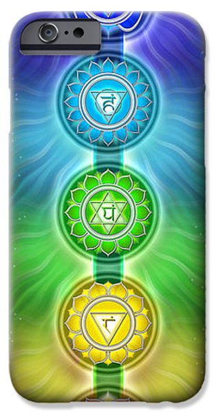 Hinduism iPhone Cases - The Seven Main Chakras I Series 2011 iPhone Case by Dirk Czarnota
