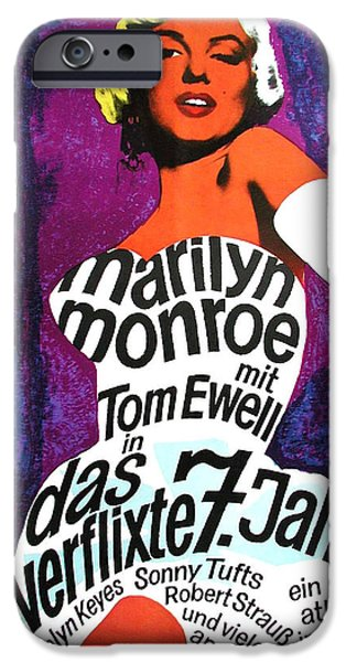 1950s Movies iPhone Cases - The Seven Year Itch German iPhone Case by Nomad Art And  Design